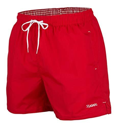 Zagano Badehose Herren Badeshorts, Boardshorts für Männer mit Kordelzug, Badehose, Sporthose, Shorts XL Rot, hergestellt in der EU