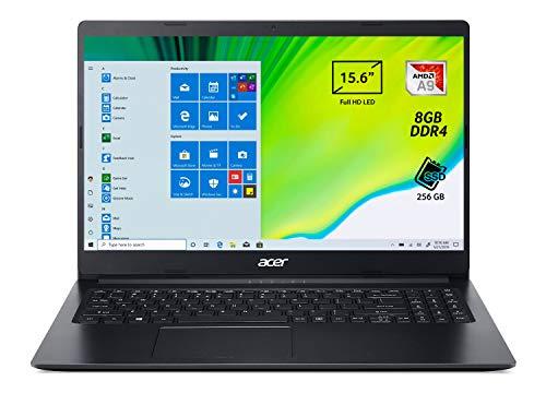 Acer Aspire 3 A315-22-956Q Notebook con Processore AMD Dual-Core A9-9420e, RAM da 8 GB DDR4, 256 GB PCIe NVMe SSD, Display da 15.6  HD LED LCD, Scheda Grafica AMD Radeon R5, Windows 10 Home, Nero