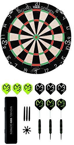 XQ-Max Sports Michael Van Gerwen Steel Dartscheibe Kombi-Set (Dartboard + Dartset)