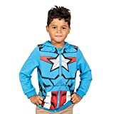 Marvel Avengers Captain America Big Boys French Terry Cosplay Zip-Up Hoodie Blue 8