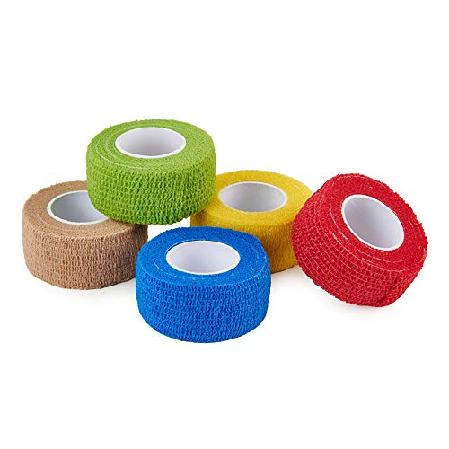 CamGo 5-Pack Self-Adhesive Bandage Rolls Elastic Cohesive Protector Tapes for Finger Wrist and Ankle (Rainbow - 1