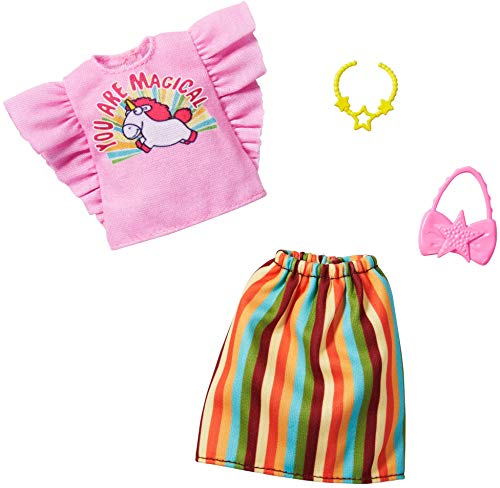 Barbie Clothes: Minions Outfit for Barbie Doll, Unicorn Top, Striped Skirt, Necklace and Purse, Gift for 3 to 8 Year Olds
