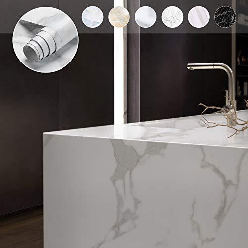 KINLO Möbelfolie Selbstklebend marmor klebefolie PVC Aufkleber für Möbel Küche Küchenschrank Dekofolie 0.61 * 5M Möbelaufkleber Wasserfest Tapete Dekofolie für Möbel Tische (Type A)