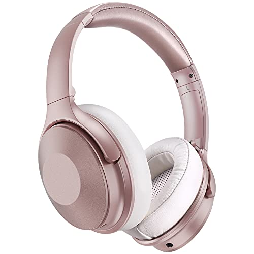 Pink Noise Cancelling Headphones, 45Hrs Playtime Wireless 5.0 Headphones Over Ear with Microphone, Fast Charge, Deep Bass, Wired Wireless Headset for Girls, Women, Online Class, Home Office