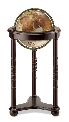 Replogle Lancaster—Bronze Metallic, Dark Cherry Wood Finish, Floor Model Globe, Perfect for Anyone Looking for a Elegant Floor Standing Globe That Fits Small Spaces (12'/30 cm diameter)