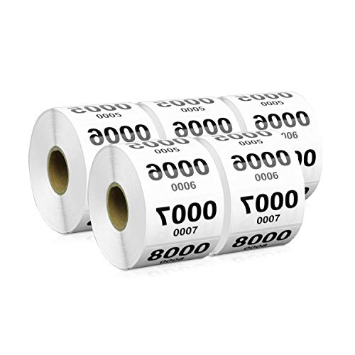 """5 Rolls - TUCO DEALS 2"""" x 1"""" Reverse Numbered 0001-1000 Labels for Inventory Counting Consecutive Number - 5000 Labels"""