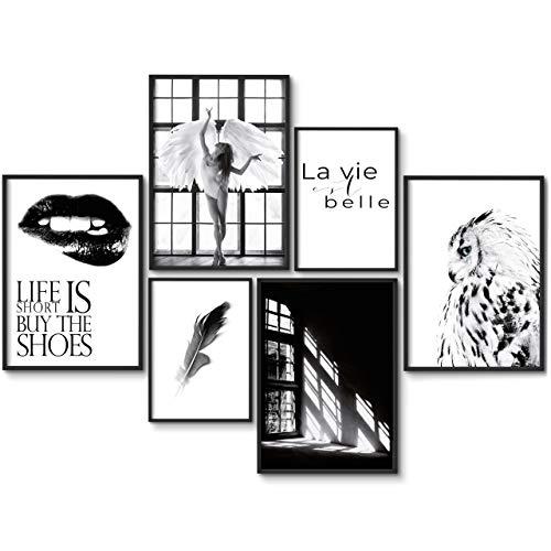 myestado Premium Poster Set Bilder - Wohnzimmer Modern Schlafzimmer Bild für Ihre Wand - ohne Rahmen - 4 x DIN A3 & 2 x DIN A4 - ca. 30x42 & 21x30 » Angel «