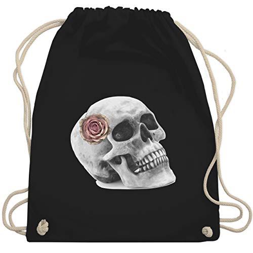 Halloween - Totenkopf Rose Vintage Skull - Unisize - Schwarz - totenkopf handtasche - WM110 - Turnbeutel und Stoffbeutel aus Baumwolle