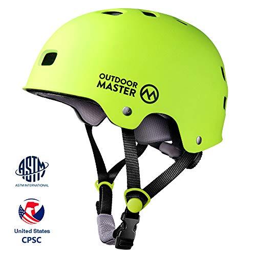 OUTDOORMASTERスポーツヘルメット 自転車ヘルメット 子供 大人 保護用ヘルメット 運動 CPSC安全規格 ASTM安全規格 12つ通気穴 3D保護クッション 置換クッションおまけ 取り出し可能 洗濯可能 全方位調整アジャスター スケートボード アイススケート サイクル 子供大人兼用 男女兼用 6ケ月保証