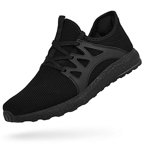 Feetmat Mens Black Tennis Shoes Non Slip Gym Running Sneakers Slip On Knit Mesh Athletic Workout Fashion Shoes Black 7