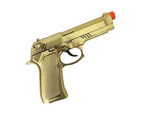 shoperama Pistola dorada con efecto de sonido de disparo, arma, revólver gánster mafia, accesorio de disfraz