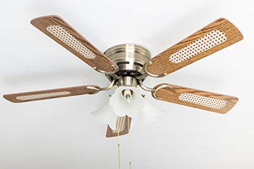 Pepeo Kisa Deluxe in Ottone Antico con Illuminazione Ventilatore da soffitto. 44 W, Quercia/Noce, 105 cm