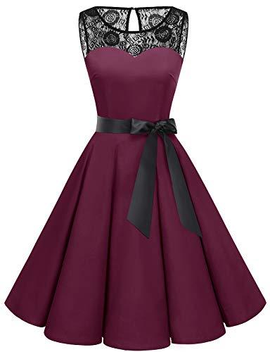 bbonlinedress 1950er Ärmellos Vintage Retro Spitzenkleid Rundhals Abendkleid Burgundy L