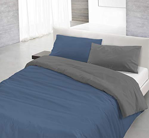 Italian Bed Linen Natural Color Parure Copri Piumino, 100% Cotone, Avio/Fumo, Singolo, 2 unità