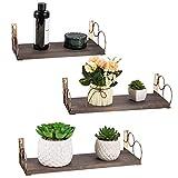 NEX Floating Shelves, Set of 3 Wall Mount Shelves for Living Room Bedroom Bathroom, Espresso