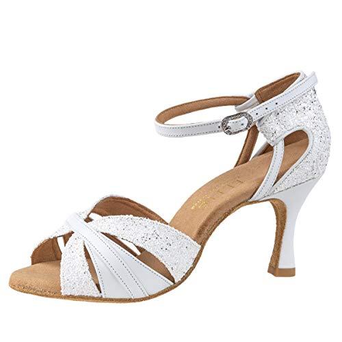 Rummos Damen Latein Tanzschuhe Elite Aura 004/GS4 - Material: Leder/Glitzer - Farbe: Weiß - Weite: Medium (Normal) - Absatz: 60R Flare - Größe: EUR 40