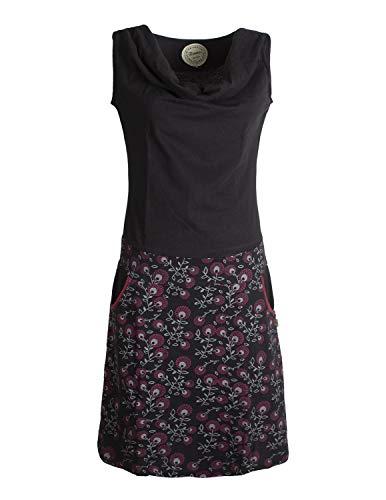 Vishes - Alternative Bekleidung - Damen Baumwoll-Kleid, Blumen-Muster, Wasserfall-Kragen und Taschen schwarz 32