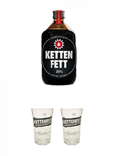 Kettenfett Lakritz Likör 0,5 Liter Kanne + Kettenfett Shot Glas 1 Stück + Kettenfett Shot Glas 1 Stück