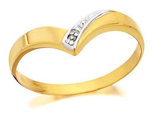 F. Hinds Womens Ladies Jewellery 9ct Yellow Gold Diamond Wishbone Ring - P