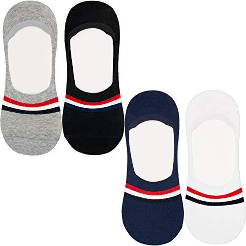 DOUBLE M, 4 Pares de Calcetines Tobillero Pinkis para Hombre Mujer, Calcetines de Vestir, de Algodón, Calcetines Suaves, Talla única 37 a 43