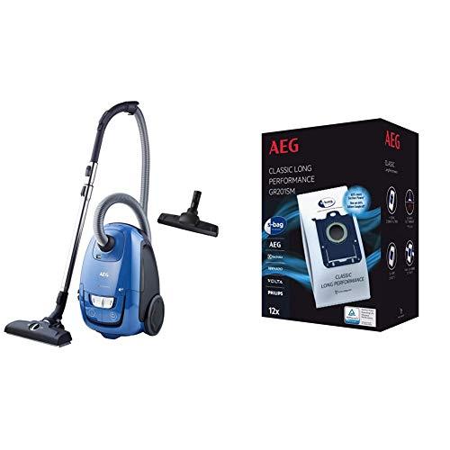 AEG VX8-2-6SB Staubsauger + GR201SM Staubbeutel (Inkl. Zusatzdüsen, 600 W, nur 64 dB(A), 12 m Aktionsradius, 3,5 l Staubbeutelvolumen, Hygiene Filter, Ergo-Handgriff, 12 Staubsaugerbeutel, blau)