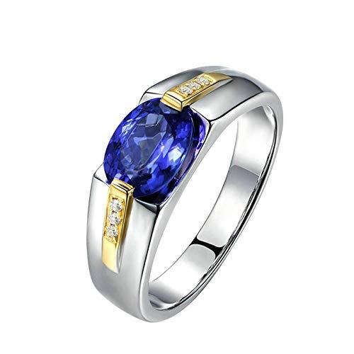 Bishilin Oro Blanco 18K Anillo de Mujer Azul Tanzanita de 1.15 Quilates con Incrustaciones Y Diamante de 0.05 Quilates Azul Plateado Anillo de Compromiso Anillo de Matrimonio Talla:23,5
