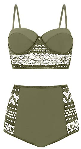 AMOURRI Womens Vintage Polka Underwire High Waisted Swimsuit Bathing Suits Bikini (Z4- Lace Olive Green, XXX-Large (fits Like US 12-14))