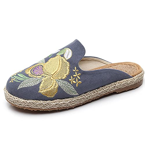 SLAYY Zapatos de Lino Transpirables para Mujer, Zapatos de Tela de Bordado de Las señoras, Zapatos de Lona de talón Abierto de Moda grey-36