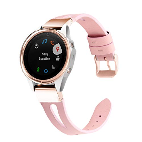 Abanen for Fenix 5S/Fenix 6S Leather Watch Band, 20mm Quick Fit Stainless Steel Hybrid Genuine Leather Women Wristband Strap for Garmin Fenix 5S/5S Plus,Fenix 6S Pro/Sapphire,Pink
