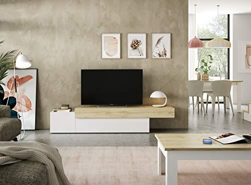 ambiato Aura A3 Unterteil Lowboard Lack Weiß Hochglanz + Wildeiche 3D Dekor 160x42,2x44 cm TV Board 2 Klappen