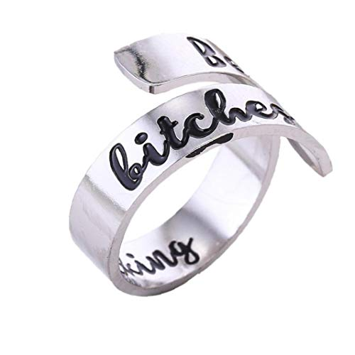 1Pc Mens Rings Adjustable Personalized Stainless Steel Rings for Woman Encouragement Personalized Birthday Gifts (best bitches) Costume Jewelry