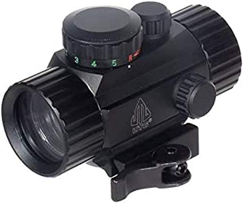 UTG Leuchtpunktvisier 4 Zoll Compact Ita Rot/Gün Circle Dot Sight mit Integrierter Schnellverschluss Picatinny Montage - Cámara de Caza, Color Negro