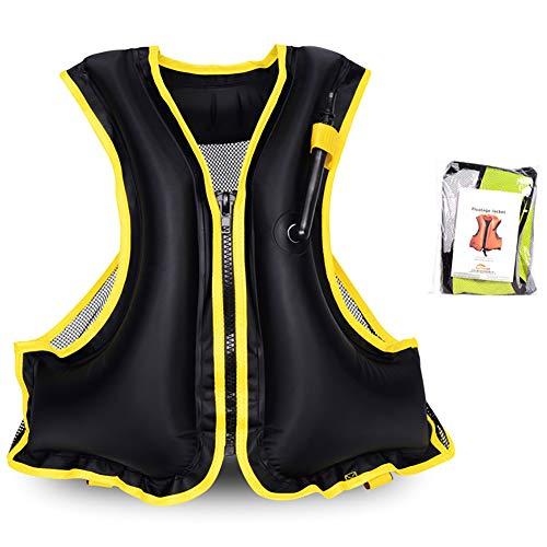 VKTY - Gilet Gonfiabile da Nuoto per Adulti, per Snorkeling, Kayak, Canoa, Surf, Nuoto, H3629OKJ366Z233B8JR9, Nero, 48 x 58cm