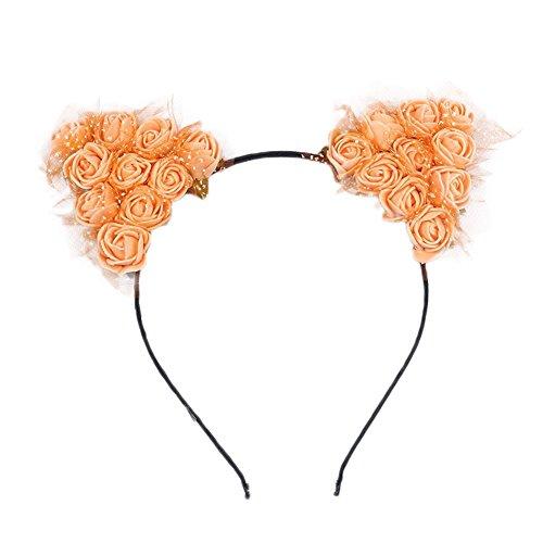 Cosanter Oreilles de Chat Serre-tête Mignon Bandeau Cheveux Romantique Fleurs Hair Hoop pour Femme Filles Orange
