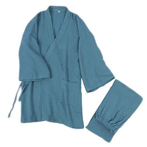 LIZANAN Japanische Mens Meditation Robe Doppel Verbandsmull Baumwolle Morgenmantel...