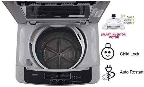 LG 7 kg 5 Star Inverter Fully-Automatic Top Loading Washing Machine (T70SKSF1Z, Middle Free Silver, TurboDrum) 4