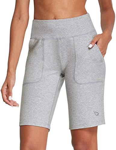 BALEAF Women's 10'' High-Rise Athletic Bermuda Shorts Running Long Shorts Lounge Yoga Workout with Pockets Light Gray Size S