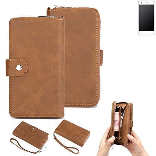 K-S-Trade® Handy-Schutz-Hülle Für Vestel V3 5570 Portemonnee Tasche Wallet-Case Bookstyle-Etui Braun (1x)