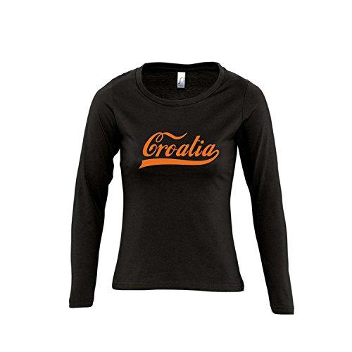 Kroatien Oldschool Croatia LÄNDERSHIRT EM/WM Fan Trikot - Damen Langarm Longsleeve T-Shirt S-XL, Deep Black - orange, XL