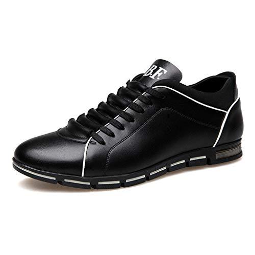 Dorical Herren Freizeit Schuhe, Männer Leder Business Anzugschuhe Halbschuhe Schnürer Oxford Derbys Lederschuhe Wasserdicht Flache Schnürhalbschuhe für Hochzeit Party Größe 38-48(Schwarz,44)