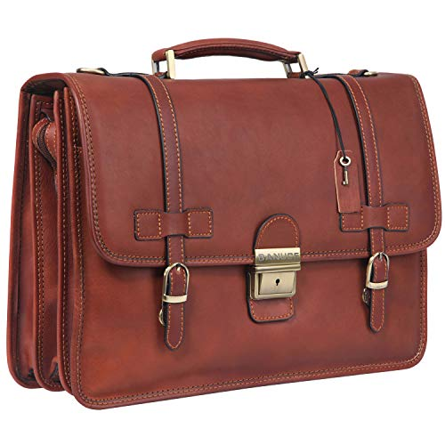 Banuce Full Grains Italian Leather Briefcase for Men with Lock Attache Case 14 Inch Laptop Business Bags Tote Work Bags Brown