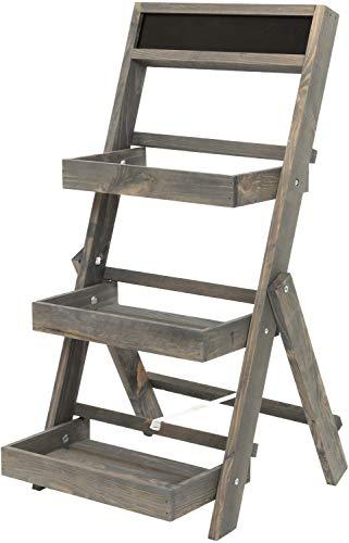 Holz-Etagere Servierplatte Servierständer   Holz   Grau   3-stöckig   mit Tafel