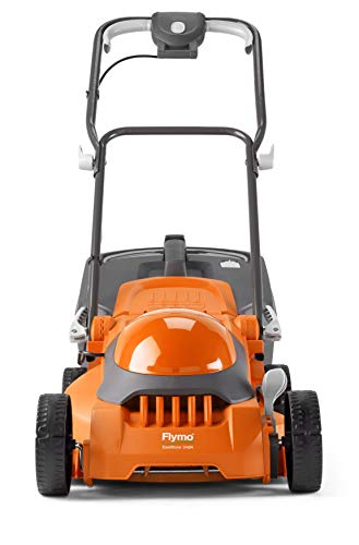 Flymo EasiStore 340R Electric Rotary Lawn Mower - 34 cm Cutting Width, 35 Litre Grass Box, Close Edge Cutting, Rear Roller, Central Height Adjust , Space Saving Storage Features