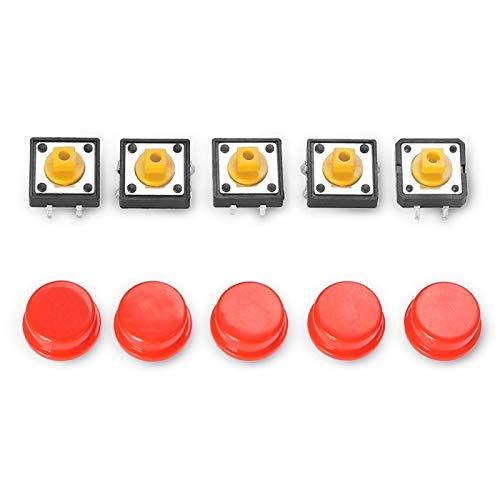 Lot de 5 interrupteurs rouge à bouton-poussoir électrique à 4 broches