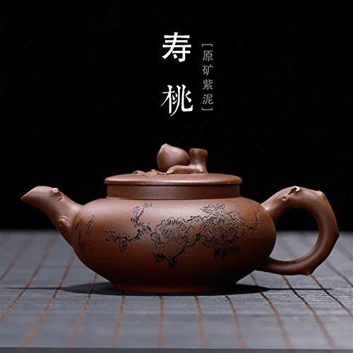 JIANGNANCHUN Erts Bodem Slot Groene Perzik Ambachtslieden Handgemaakte theepot Collectie van high-Grade Tea Pot Eén maat Paarse modder