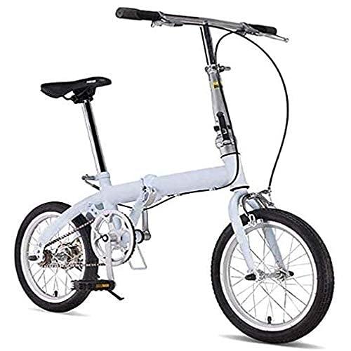 Bicicletas plegables para hombres y mujeres adultos bicicletas portátiles ultraligeras viajeros manubrios y asientos ajustables marco de aluminio de una sola velocidad de 16 pulgadas, color blanco