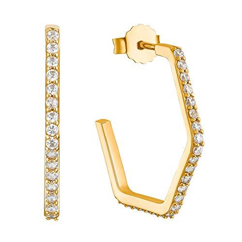 s.Oliver Pendientes para mujer de plata de ley 925 chapada en oro con circonitas