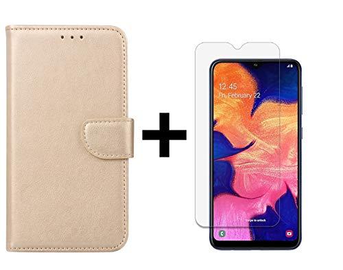 Ntech Samsung Galaxy A10 Portemonnee Hoesje - Champagne +Glazen Screenprotector - Case-Friendly