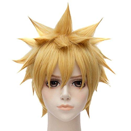 QIYUN.Z Naruto Blond Dore Courte Partie Droite Anime Cosplay Perruques De Cheveux Pleine De Chaleur