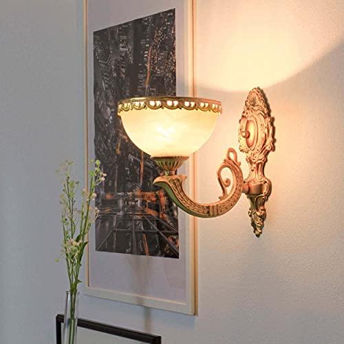 Festliche Wandleuchte in Messing glänzend Jugendstil E27 bis 60 Watt 230V Wandlampe aus Zink & Glas Wohnzimmer Schlafzimmer Flur Lampen Leuchte innen